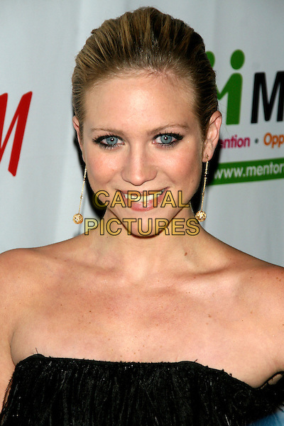 BRITTANY SNOW.Mentor Foundation's 2008 Royal Gala at The Waldorf Astoria, New York, NY, USA. .November 20th, 2008.headshot portrait strapless black dangling gold earrings .CAP/LNC.©TOM/LNC/Capital Pictures.