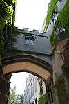 Arched neo-gothic style walkway between buildings, University of Chicago campus, Chicago, Illinois, IL, USA
