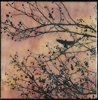 Mixed media art. Sky view of bird flying in sunset sky through branch with berries, encaustic painting with photography.
