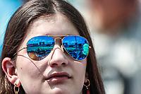 Aficionada con lentes de sol.<br /> Acciones del partido de beisbol, Dodgers de Los Angeles contra Padres de San Diego, tercer juego de la Serie en Mexico de las Ligas Mayores del Beisbol, realizado en el estadio de los Sultanes de Monterrey, Mexico el domingo 6 de Mayo 2018.<br /> (Photo: Luis Gutierrez)