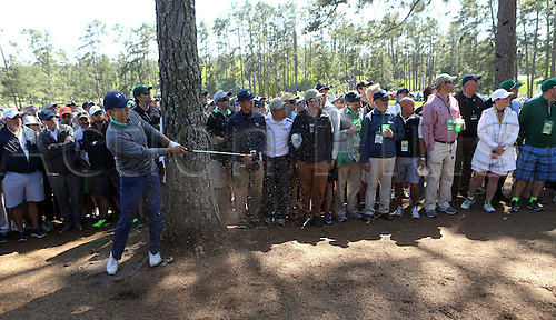 09.04.2016. Augusta, GA, USA.  Jordan Spieth hits from the woods along the 3rd fairway during the third round of the 80th Masters at the Augusta National Golf Club in Augusta, Ga., on Saturday, April 9, 2016