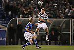 09 December 2011: UNCC's Aidan Kirkbridge (ENG) (8) heads the ball. The Creighton University Bluejays played the University of North Carolina Charlotte 49ers to a 0-0 overtime tie, the 49ers won the penalty shootout 4-1 to advance at Regions Park in Hoover, Alabama in an NCAA Division I Men's Soccer College Cup semifinal game.