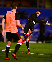 Jake Clarke-Salter of Sunderland warms up before the Sky Bet Championship match between Birmingham City and Sunderland at St Andrews, Birmingham, England on 30 January 2018. Photo by Bradley Collyer / PRiME Media Images.