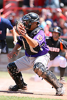 May 31, 2009:  Catcher Armando Camacaro of the Akron Aeros in the field during a game at Jerry Uht Park in Erie, NY.  The Aeros are the Eastern League Double-A affiliate of the Cleveland Indians.  Photo by:  Mike Janes/Four Seam Images