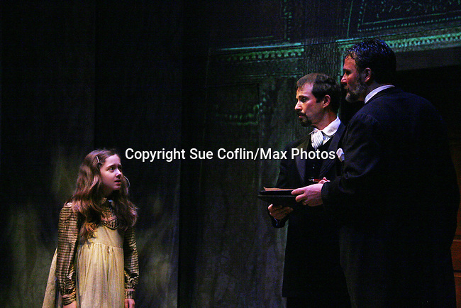 """Isabella Convertino & Sterling Swann & Chris Whipple as Philipstown Depot Theatre presents The Secret Garden on November 15, 2009 in Garrison, New York. The musical The Secret Garden is the story of """"Mary Lennox"""", a rich spoiled child who finds herself suddenly an orphan when cholera wipes out the entire Indian village where she was living with her parents. She is sent to live in England with her only surviving relative, an uncle who has lived an unhappy life since the death of his wife 10 years ago. """"Archibald's son Colin"""", has been ignored by his father who sees Colin only as the cause of his wife's death.This is essentially the story of three lost, unhappy souls who, together, learn how to live again while bringing Colin's mother's garden back to life. (Photo by Sue Coflin/Max Photos)...."""