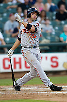 Fresno Grizzlies first baseman Todd Linden #29 swings during the Pacific Coast League baseball game against the Round Rock Express on May 19, 2012 at The Dell Diamond in Round Rock, Texas. The Grizzlies defeated the Express 10-4. (Andrew Woolley/Four Seam Images).