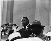 """Dr. Martin Luther King, Jr. delivers his """"I have a Dream"""" speech on August 28, 1963 from the steps of the Lincoln Memorial in Washington, D.C. on August 28, 1963.<br /> Credit: National Archives via CNP"""
