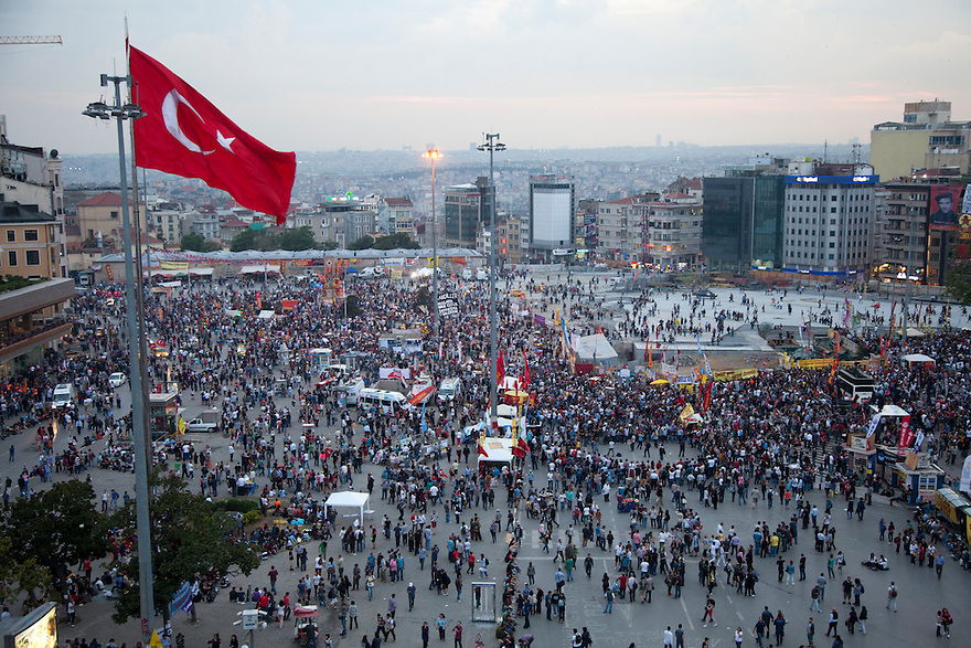 ISTANBUL, TURKEY--June 5, 2013--  On the sixth day of protests Taksim Square is full of people but still closed to vehicles and the atmosphere is festive. PHOTO BY JODI HILTON