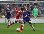 Ezekiel Fryers of Barnsley tackles Lee Evans of Sheffield Utd during the championship match at the Oakwell Stadium, Barnsley. Picture date 7th April 2018. Picture credit should read: Simon Bellis/Sportimage