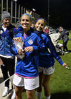 Kansas City, MO - Friday May 13, 2016: FC Kansas City midfielder Jen Buczkowski (6) and forward Shea Groom (2) pose for the camera after the game against Chicago Red Stars during a regular season National Women's Soccer League (NWSL) match at Swope Soccer Village. The match ended 0-0.