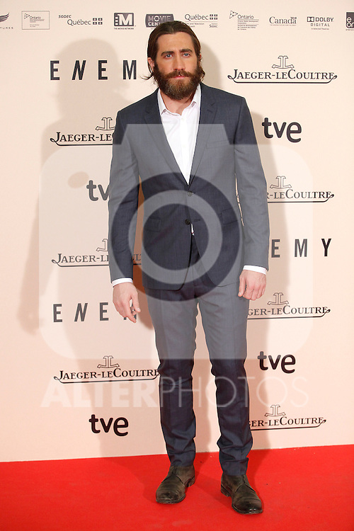 Actor JAKE GYLLENHAAL posses for the photographer while he attends the `Enemy´premiere photocall at Palafox cinema in Madrid, Spain. March 20, 2014. (ALTERPHOTOS/Victor Blanco)