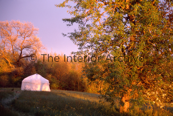 A yurt bathed in morning sunlight in a field surrounded by trees