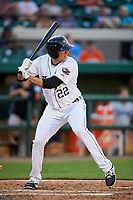 Lakeland Flying Tigers third baseman Danny Pinero (22) at bat during a game against the Tampa Tarpons on April 5, 2018 at Publix Field at Joker Marchant Stadium in Lakeland, Florida.  Tampa defeated Lakeland 4-2.  (Mike Janes/Four Seam Images)