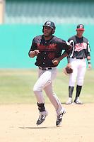 Austin Wilson (40) of the Bakersfield Blaze runs the bases during a game against the High Desert Mavericks at Mavericks Stadium on May 18, 2015 in Adelanto, California. High Desert defeated Bakersfield, 7-6. (Larry Goren/Four Seam Images)