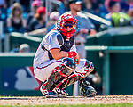 30 July 2017: Washington Nationals catcher Jose Lobaton glances back to the dugout for a sign during a game against the Colorado Rockies at Nationals Park in Washington, DC. The Rockies defeated the Nationals 10-6 in the second game of their 3-game weekend series. Mandatory Credit: Ed Wolfstein Photo *** RAW (NEF) Image File Available ***