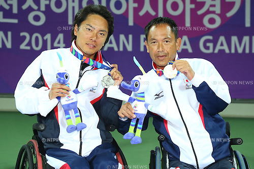 (L-R)<br /> Shota Kawano (JPN),<br /> Mitsuteru Moroishi (JPN),<br /> OCTOBER 23, 2014 -  WheelChair Tennis : <br /> Men's Singles Victory ceremony<br /> at Yeorumul Tennis Courts<br /> during the 2014 Incheon Asian Para Games <br /> in Incheon, South Korea. <br /> (Photo by Shingo Ito/AFLO SPORT)