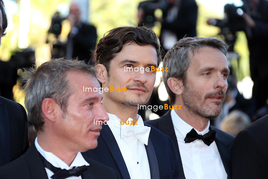 CPE/Actors Conrad Kemp and Forest Whitaker, director Jerome Salle, actor Orlando Bloom, writer Caryl Ferey, composer Alexandre Desplat and writer Julien Rappeneau attend the 'Zulu' Premiere and Closing Ceremony during the 66th Annual Cannes Film Festival at the Palais des Festivals on May 26, 2013 in Cannes, France.