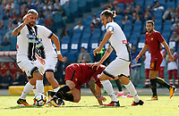 Calcio, Serie A: Roma vs Udinese. Roma, stadio Olimpico, 23 settembre 2017.<br /> Roma&rsquo;s Radja Nainggolan, center, is challenged by Udinese&rsquo;s Valon Behrami, left, and Gabriele Angella during the Italian Serie A football match between Roma and Udinese at Rome's Olympic stadium, 23 September 2017. Roma won 3-1.<br /> UPDATE IMAGES PRESS/Riccardo De Luca