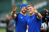 Dave Attwood and Tom Ellis of Bath Rugby wave to the camera prior to the match. Gallagher Premiership match, between Bath Rugby and Wasps on May 5, 2019 at the Recreation Ground in Bath, England. Photo by: Patrick Khachfe / Onside Images