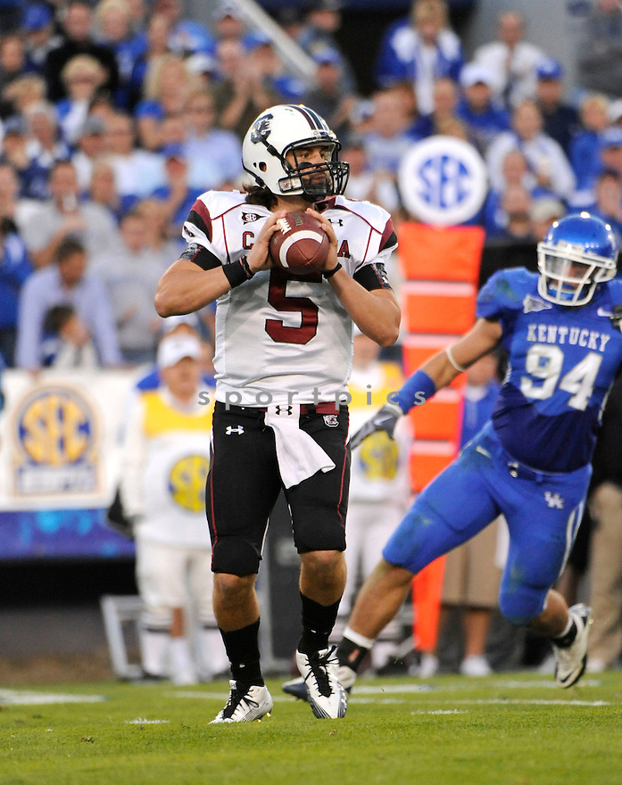 STEPHEN GARCIA, of South Carolina,  in action during the their game against Kentucky  on October 16, 2010 at Memorial Stadiium in Bloomington...Kentucky beats South Carolina 31-28