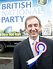 British National Party election manifesto launch for the May 3 London Assembly elections in East London, Great Britain <br /> 9th April 2012 <br /> <br /> <br /> Carlos Cortiglia <br /> mayor of London candidate for the BNP <br /> <br /> <br /> Photograph by Elliott Franks