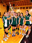 14 November 2010: The Vermont Commons School girls volleyball team hoist the trophy after their victory in the 2010 Vermont State Volleyball Championships at Saint Michael's College in Colchester, Vermont. Participating schools included: the Enosburg Falls Hornets, the Lake Region Union Rangers, the Lyndon Institute Vikings, and the VCS Flying Turtles. The Boys Championship went to Lake Region Union High School, and for the third year in a row, the Girls Championship went to the Vermont Commons School. Mandatory Credit: Ed Wolfstein Photo1
