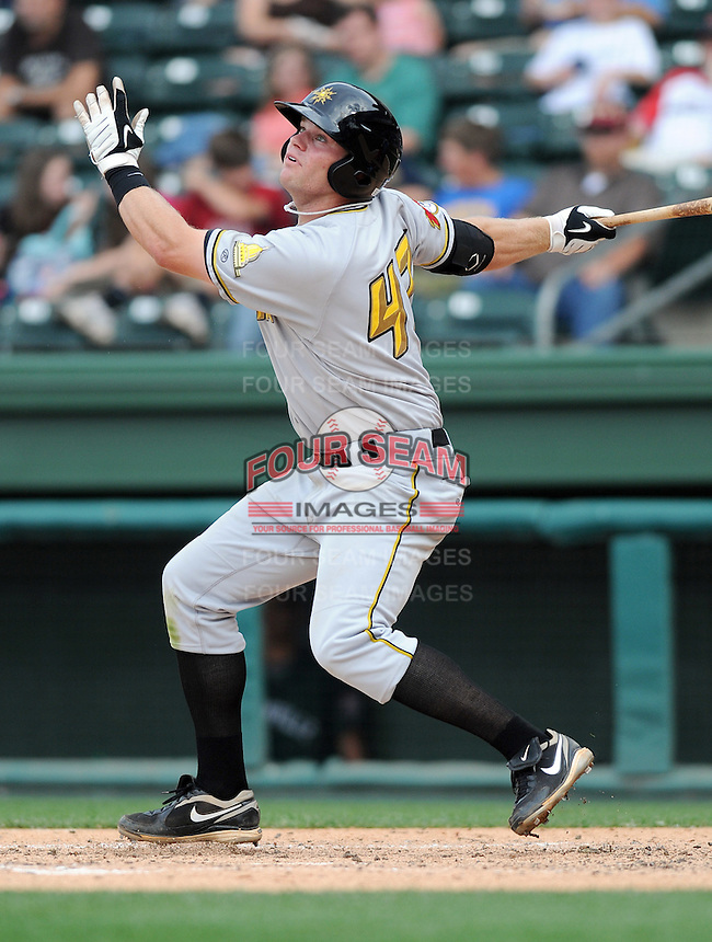 Infielder Aaron Baker (47) of the West Virginia Power, Class A affiliate of the Pittsburgh Pirates, at a game against the Greenville Drive May 2, 2010, at Fluor Field at the West End in Greenville, S.C. Photo by: Tom Priddy/Four Seam Images
