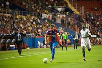 VALENCIA, SPAIN - SEPTEMBER 11: Morales and Kakuta during BBVA LEAGUE match between Levante U.D. And Sevilla C.F. at Ciudad de Valencia Stadium on September 11, 2015 in Valencia, Spain