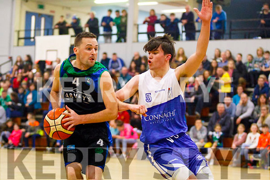 Fergal o'Sullivan, Garvey's Tralee Warriors keeps the ball close and away from Maree BC during the game between the sides at the Tralee Sports Complex last Saturday night.
