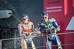 VALENCIA, SPAIN - NOVEMBER 11:  Marc Marquez, Jorge Lorenzo celebration during Valencia MotoGP 2016 at Ricardo Tormo Circuit on November 11, 2016 in Valencia, Spain