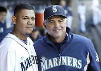 04 October 2009: Seattle Mariners pitching coach Rick Adair poses with Felix Hernadez in the dig out for a picture together during the game against the Texas Rangers. Seattle won 4-3 over the Texas Rangers at Safeco Field in Seattle, Washington.