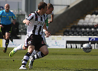 Jeroen Tesselaar (nearest) and Leigh Griffiths tussle in the St Mirren v Hibernian Clydesdale Bank Scottish Premier League match played at St Mirren Park, Paisley on 29.4.12.