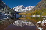 Maroon Lake and Maroon Bells in autumn, west of Aspen, Colorado, John offers fall foliage photo tours throughout Colorado. .  John leads private photo tours throughout Colorado. Year-round Colorado photo tours.