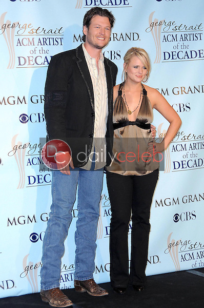 Blake Shelton and Miranda Lambert<br />in the press room at the Academy Of Country Music Awards' Artist Of The Decade. MGM Grand, Las Vegas, NV. 04-06-09<br />Dave Edwards/DailyCeleb.com 818-249-4998