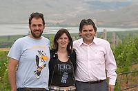 George Kotsiou, vineyard manager, Artemis Toulaki, oenologist winemaker, George Veranis, sales director. Amyntaion wine cooperative, Amyndeon, Macedonia, Greece