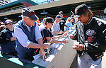 Sacramento River Cat's Hideki Okajima signs autographs before a game against the Reno Aces in Reno, Nev., on Sunday, April 14, 2013. .Photo by Cathleen Allison