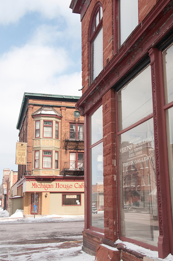 The Vertin Art Gallery and Michigan House Cafe & Pub in downtown Calumet Michigan.