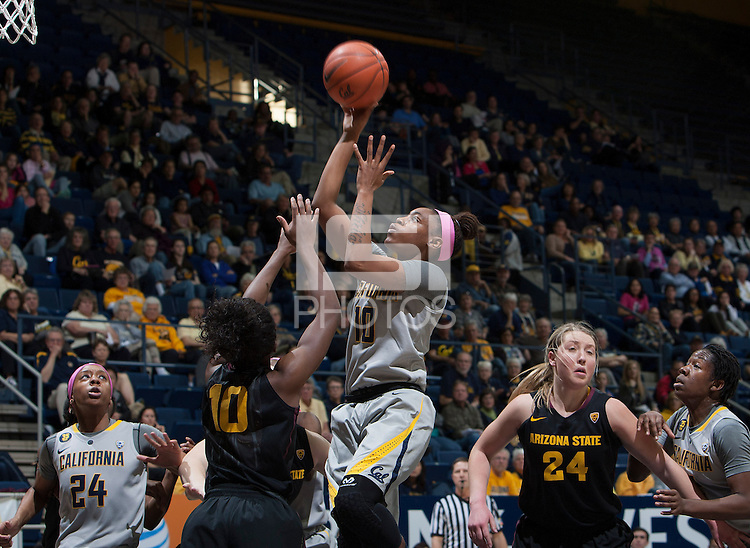 Mercedes Jefflo of California shoots the ball during the game against Arizona State at Haas Pavilion in Berkeley, California on February 16th, 2014.  California defeated Arizona State, 74-63.