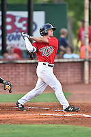 Elizabethton Twins catcher Ben Rortvedt (33) swings at a pitch during a game against the Bristol Pirates at Joe O'Brien Field on July 30, 2016 in Elizabethton, Tennessee. The Twins defeated the Pirates 6-3. (Tony Farlow/Four Seam Images)