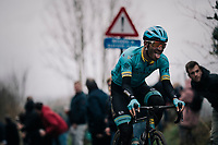 Zhandos Bizhigitov (KAZ/Astana) up the Oude Kwaremont<br /> <br /> 71th Kuurne-Brussel-Kuurne 2019 <br /> Kuurne to Kuurne (BEL): 201km<br /> <br /> ©kramon