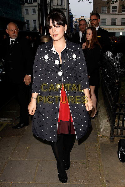 Lily Allen.Arrivals at the Glamour Women Of The Year Awards, Berkeley Square Gardens, London, England..May 29th, 2012.full length blue white red polka dot coat jacket dress tights     .CAP/AH.©Adam Houghton/Capital Pictures.