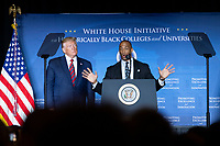 White House Opportunity and Revitalization Council Executive Director Scott Turner speaks alongside United States President Donald J. Trump at the 2019 National Historically Black Colleges and Universities Week Conference at the Renaissance Hotel in Washington, DC on Tuesday, September 10, 2019.<br /> CAP/MPI/RS<br /> ©RS/MPI/Capital Pictures