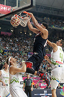 Slovenia's Miha Zupan (l) and Jure Balazic (r) and USA's Anthony Davis during 2014 FIBA Basketball World Cup Quarter-Finals match.September 9,2014.(ALTERPHOTOS/Acero)