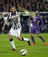 Calcio, Coppa Italia: semifinale di ritorno Fiorentina vs Juventus. Firenze, stadio Artemio Franchi, 7 aprile 2015. <br /> Juventus' Giorgio Chiellini gestures during the Italian Cup semifinal second leg football match between Fiorentina and Juventus at Florence's Artemio Franchi stadium, 7 April 2015.<br /> UPDATE IMAGES PRESS/Isabella Bonotto