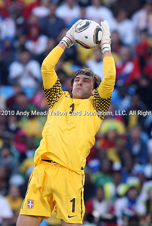 13 JUN 2010:  Vladimir Stojkovic (SRB)(1) captures a ball in the box.  The Serbia National Team played the Ghana National Team at Loftus Versfeld Stadium in Tshwane/Pretoria, South Africa in a 2010 FIFA World Cup Group D match.