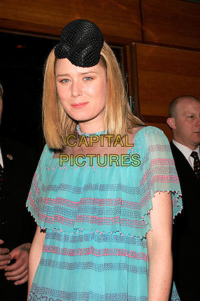 ROISIN MURPHY.Belvedere Jagger Dagger - launch party, 17 Berkeley Street, London, England..May 8th, 2008.half length black hat blue pink layers layered dress pattern necklace .CAP/AH.©Adam Houghton/Capital Pictures.