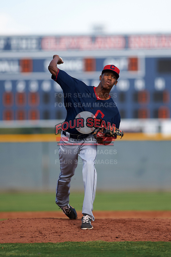 Cleveland Indians pitcher Triston McKenzie (45) during an instructional league game against the Cincinnati Reds on October 17, 2015 at the Goodyear Ballpark Complex in Goodyear, Arizona.  (Mike Janes/Four Seam Images)