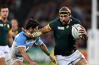 Victor Matfield of South Africa takes on the Argentina defence. Rugby World Cup Bronze Final between South Africa and Argentina on October 30, 2015 at The Stadium, Queen Elizabeth Olympic Park in London, England. Photo by: Patrick Khachfe / Onside Images