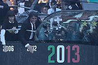 Antonio Conte .Juventus team celebrates winning of italian championship on a bus in Piazza Castello, center of Turin .L'autobus scoperto con la squadra della Juventus Campione d'Italia in Piazza Castello gremita di tifosi .Torino 05/05/2013 Piazza Castello.Football Calcio Serie A  2012/13.Festeggiamenti Juventus Campione d'Italia .Foto Insidefoto Federico Tardito