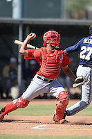Los Angeles Angels catcher Cam Moye (16) throws down to second during an Instructional League game against the Milwaukee Brewers on October 11, 2013 at Tempe Diablo Stadium Complex in Tempe, Arizona.  (Mike Janes/Four Seam Images)